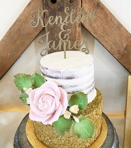 Custom Calligraphy Name and Name Wedding Cake Topper-Gold