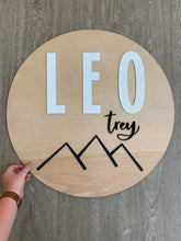 "Load image into Gallery viewer, 24"" Modern Mountains Round Nursery Name Sign / Circle Nursery Sign / Baby Name Sign"