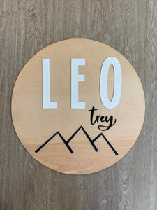 "24"" Modern Mountains Round Nursery Name Sign / Circle Nursery Sign / Baby Name Sign"