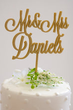 Load image into Gallery viewer, Custom Mr and Mrs Wedding Cake Topper- Glitter Gold