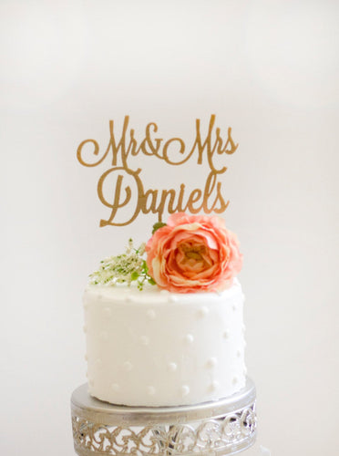 Custom Mr and Mrs Wedding Cake Topper- Glitter Gold