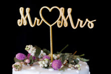Load image into Gallery viewer, Mr. Heart Mrs. Gold Wedding Cake Topper