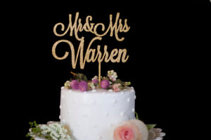 Custom Mr and Mrs Wedding Cake Topper-Gold