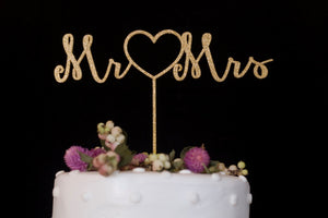 Mr. Heart Mrs. Gold Wedding Cake Topper