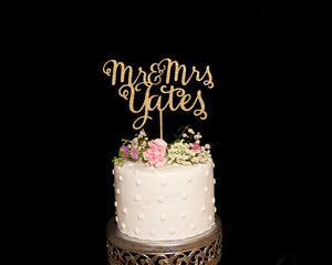 Custom Calligraphy Mr and Mrs Wedding Cake Topper- Glitter Black