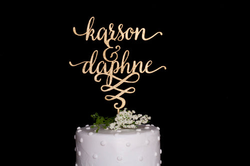 Custom Calligraphy Name & Name Wedding Cake Topper-Gold