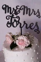 Load image into Gallery viewer, Custom Calligraphy Mr and Mrs Wedding Cake Topper- Glitter Black