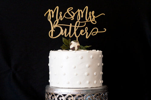 Custom Modern Calligraphy Mr and Mrs Wedding Cake Topper
