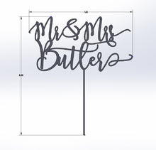 Load image into Gallery viewer, Custom Modern Calligraphy Mr and Mrs Wedding Cake Topper