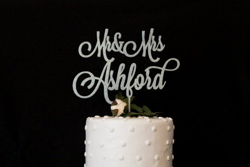 Custom Glitter Silver Mr and Mrs Wedding Cake Topper