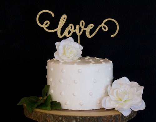 Love Wedding Cake Topper- Glitter Gold Script