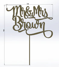 Load image into Gallery viewer, Custom Name Mr and Mrs Wedding Cake Topper