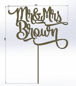Custom Name Mr and Mrs Wedding Cake Topper