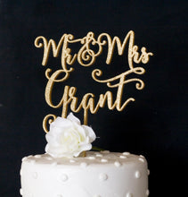 Load image into Gallery viewer, Custom Last Name Mr and Mrs Wedding Cake Topper