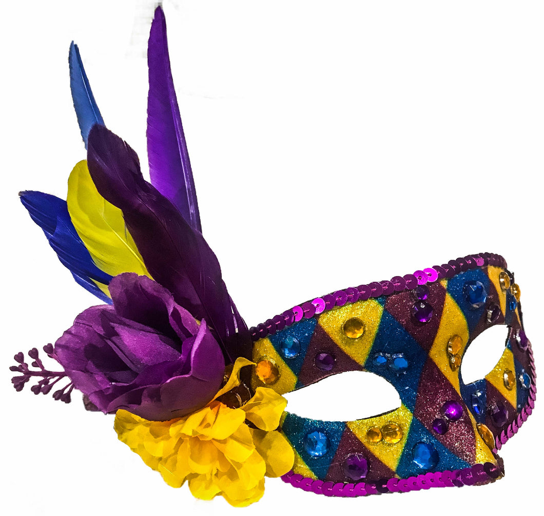 Blue, Purple and Yellow Harlequin Mask