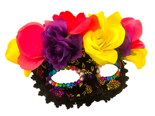 Floral Crown Rainbow Brocade Mask