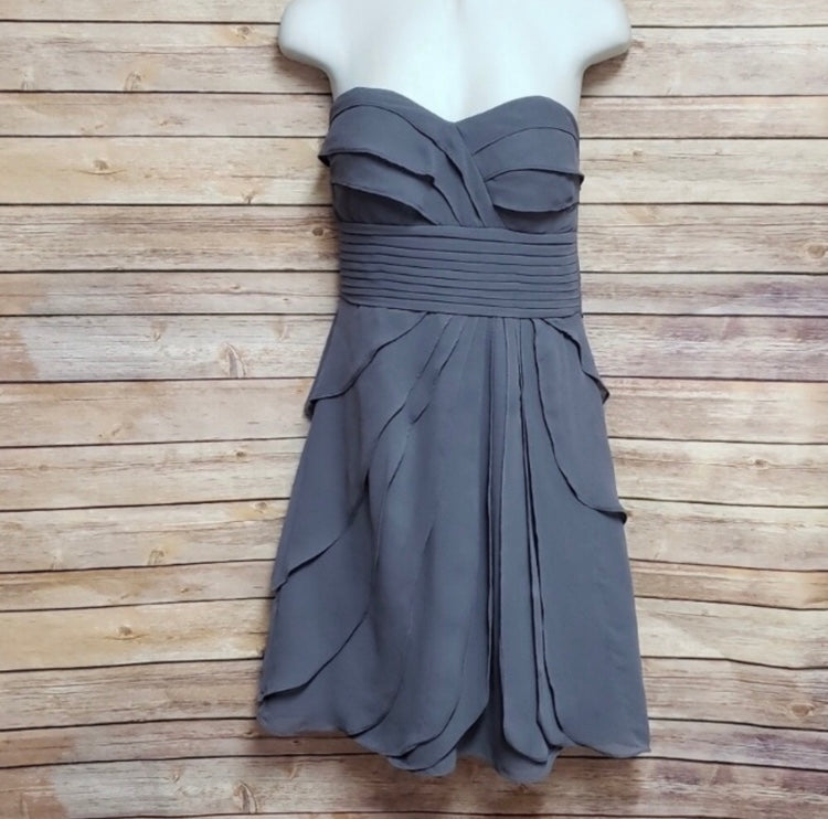 Slate Strapless Ruffled Dress