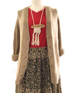 Tiered Floral Maxi Skirt and Chunky Knit Cardigan