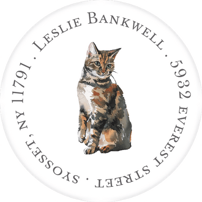 Cat Fancy Round Address Sticker
