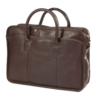 Monogrammed Top Handle Leather Briefcase