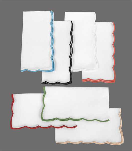Scalloped Trim Cocktail Napkins | Set of 12
