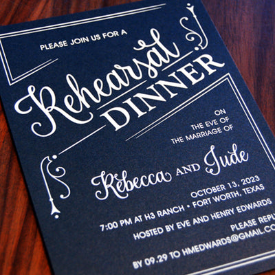 Rehearsal Dinner Invitation - Navy/White