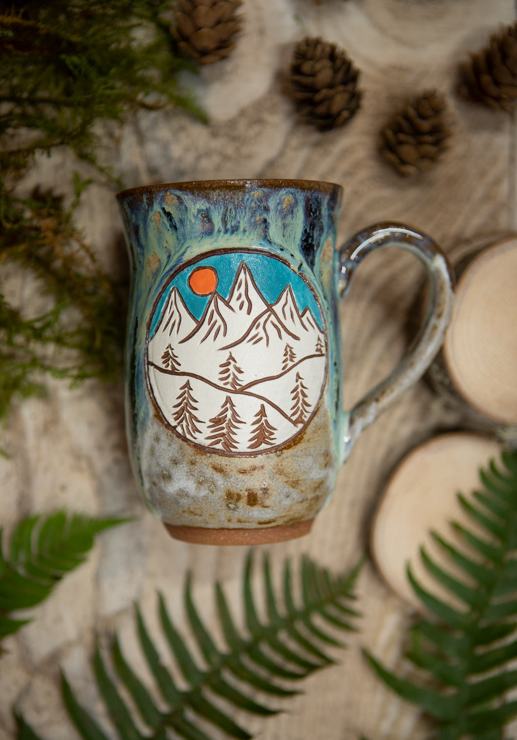 Mountains and Hills Mug- Aurora Green