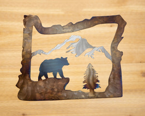 Oregon Bear Mountain Scene - Metal Art