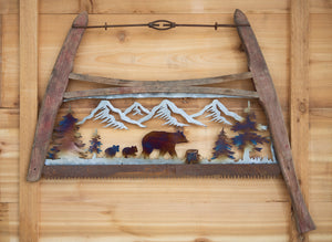 Bear Family Bow Saw - Recycled Metal Art
