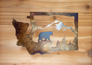 Washington Bear Scene - Metal Art