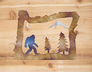 Oregon Bigfoot Scene - Metal Art