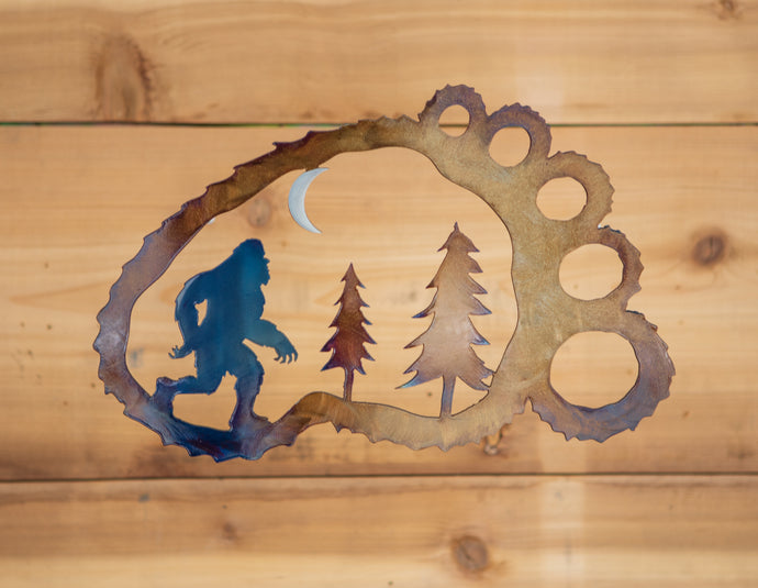 Sasquatch Foot Scene - Metal Art