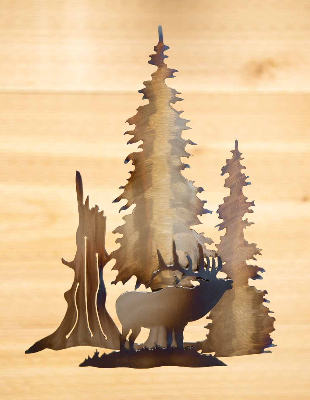 Elk Tree Scene - Metal Art