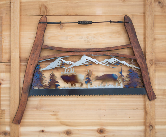 Elk Bow Saw - Recycled Metal Art