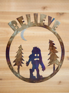 Believe Bigfoot Cartoon Scene  - Metal Art