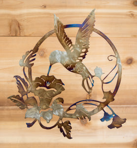 Hummingbird Floral Scene - Metal Art