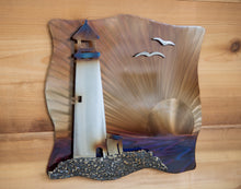 Load image into Gallery viewer, Lighthouse 3-d Scene - Metal Art