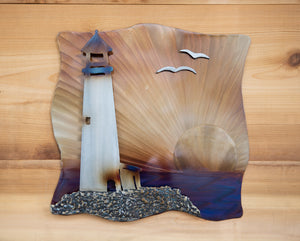 Lighthouse 3-d Scene - Metal Art