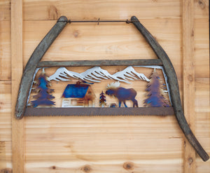 Moose Cabin Bow Saw - Recycled Metal Art