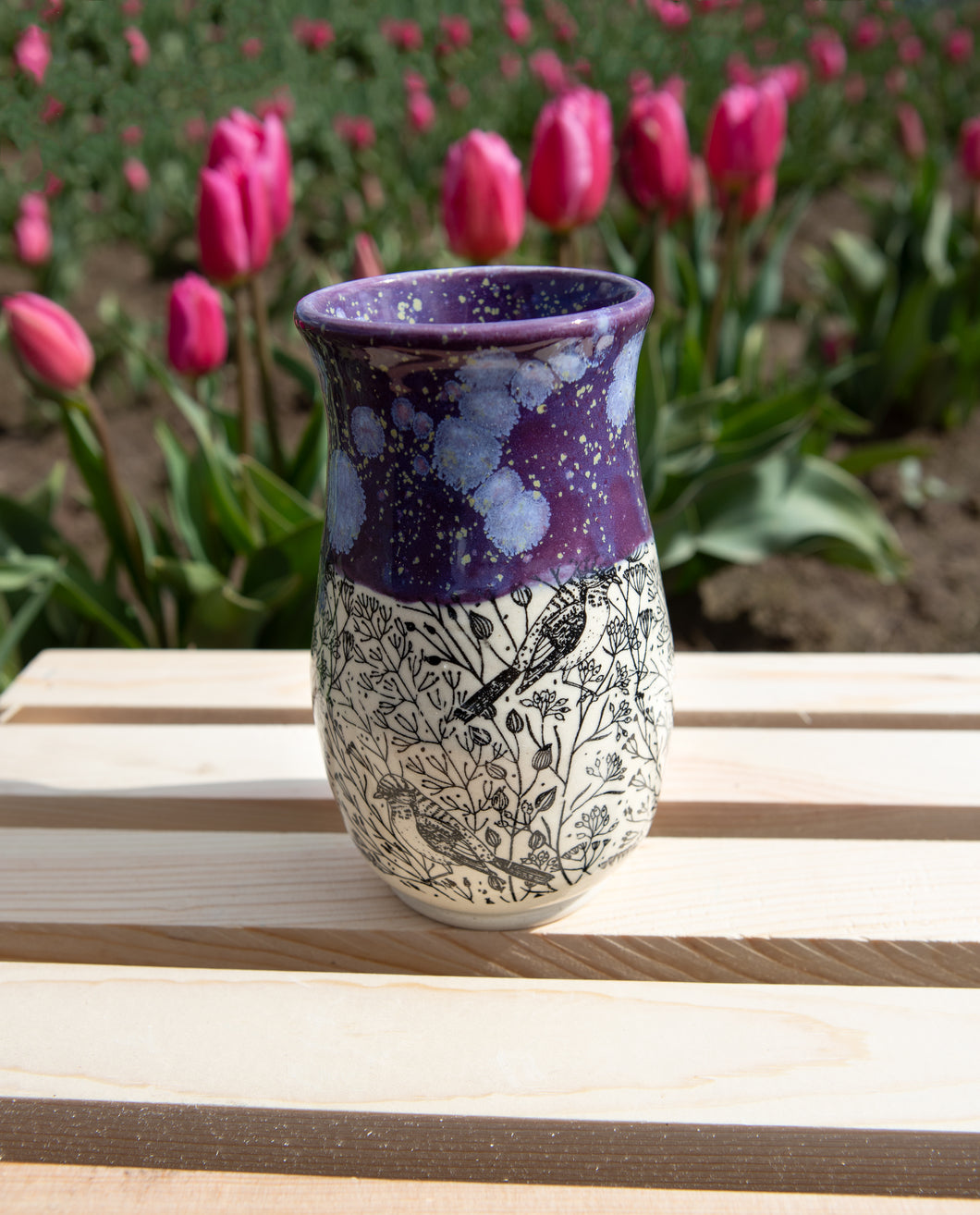 Purple Speckled Bird Foliage Vase