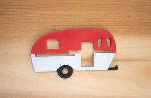 Red Happy Camper Magnet - Metal Art
