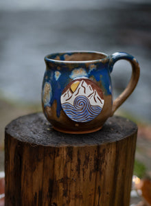 Mountain to Sea Mug- blue speckled red clay