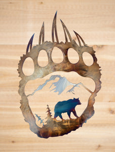 Rustic Bear Paw- Metal Art