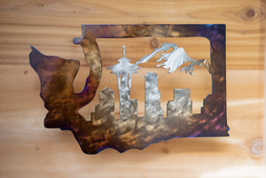 Washington Seattle Skyline Scene - Metal Art