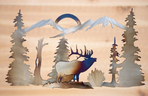 Elk Mountain Scene - Metal Art