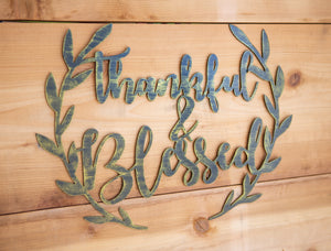 Thankful and Blessed Wreath - Metal Art