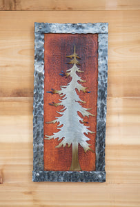 Forged Tree Wood Plaque  - Metal Art