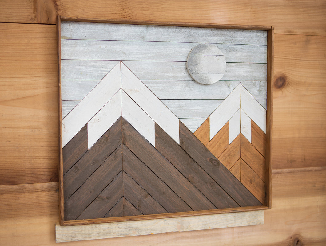 Moon in the Mountains - Wood Art