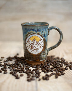 Sunrise in the Mountains Mug - cascading blue