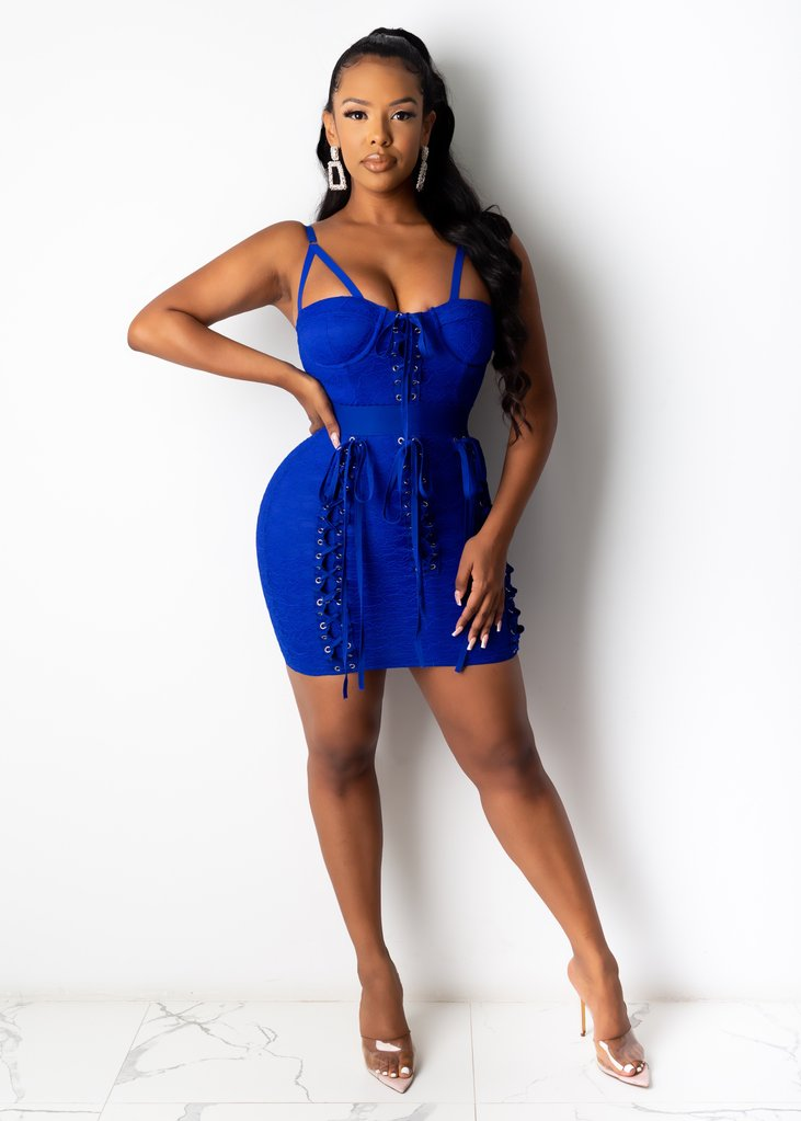 Sleeveless Side Zipper Stretchy Bodycon Kadhija Mini Dress for Party - Blue